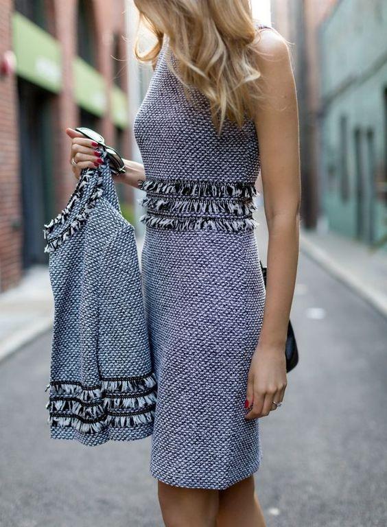 tweed dress matchy