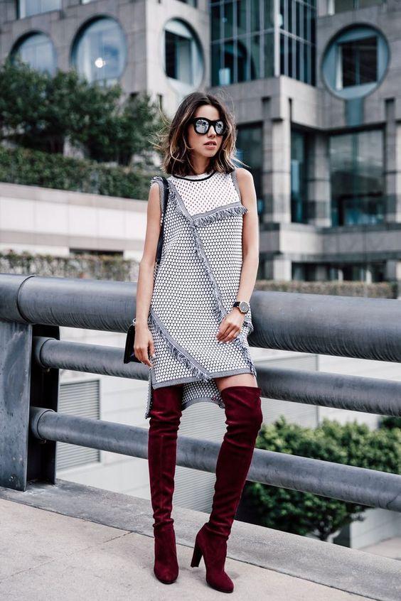 tweed dress pronounces boots