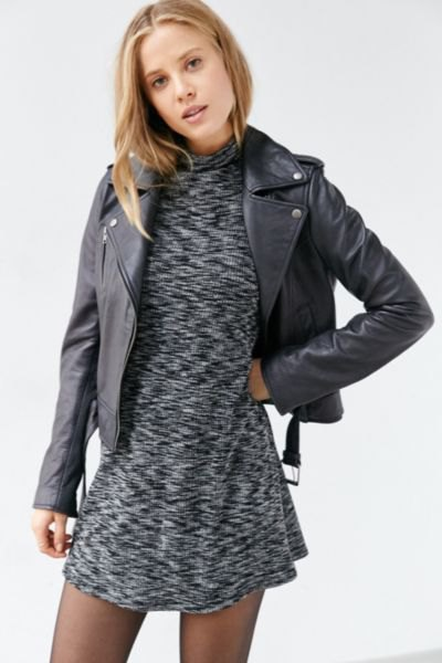 lukewarm gray mock neck mini dress clothing jacket