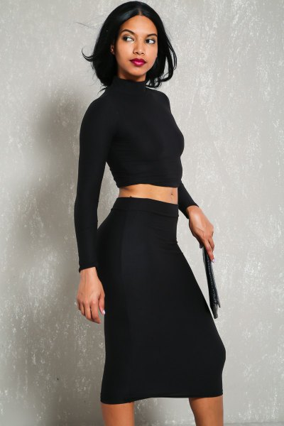 two-piece dress black long sleeve mock hair harvest