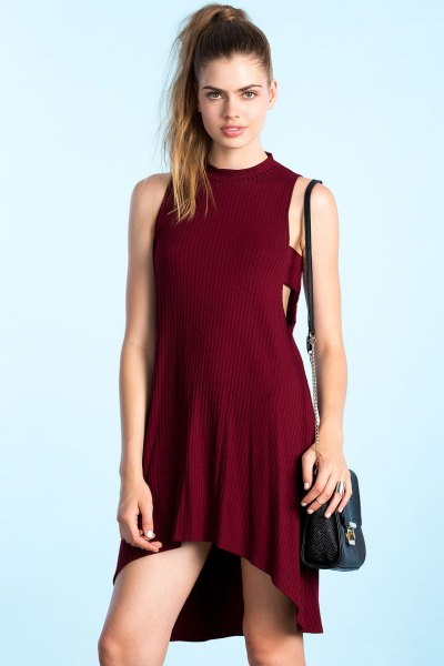 burgundy suede high low knit dress