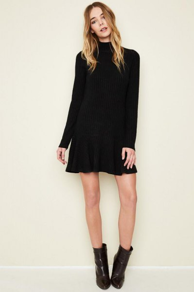 black long sleeve mini flare dress ankle