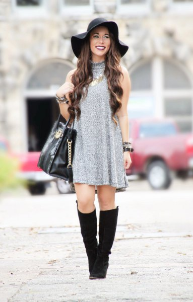 gray sweater dress floppy hat
