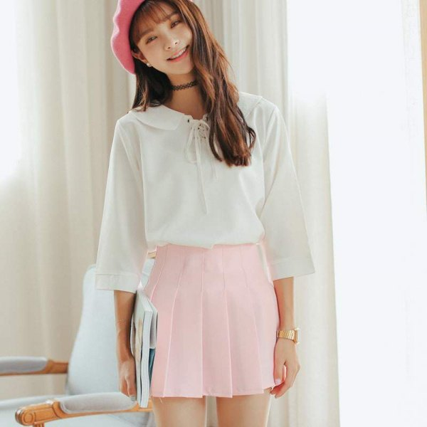 white ribbon blouse pink painter hat
