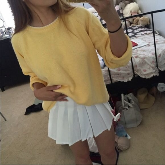 yellow knitted chunky sweater