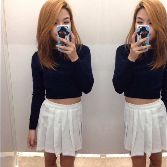black cropped sweater tennis skirt