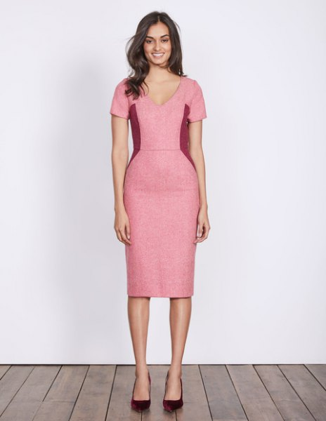 pink midi dress in v-neck
