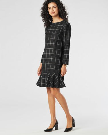 black and gray plated ruffle wool dress