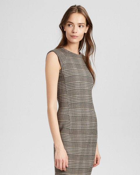 gray wool plated midi dress