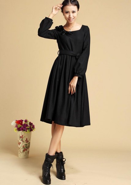 black long sleeve flare midi dress ankle