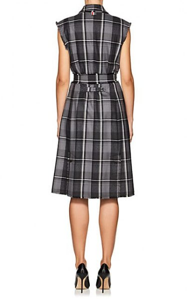 gray plaid gathered waist wool sheath dress
