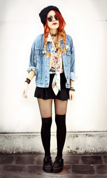 knotted silk shirt denim jacket