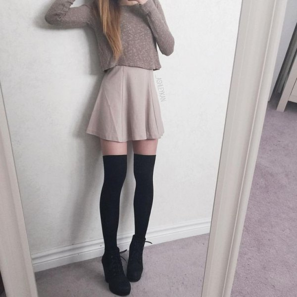 gray form fitting sweater mini skater skirt