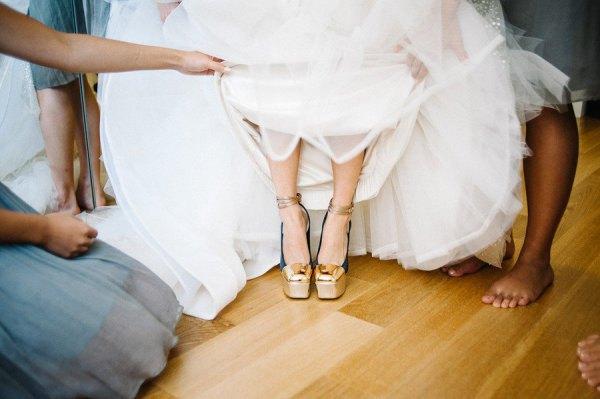 wedding dress gold ankle strap platform heels