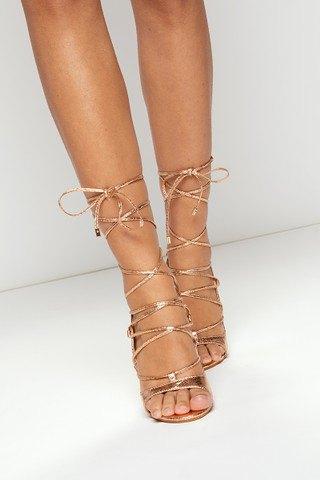 gold gladiator platform with heel sandals
