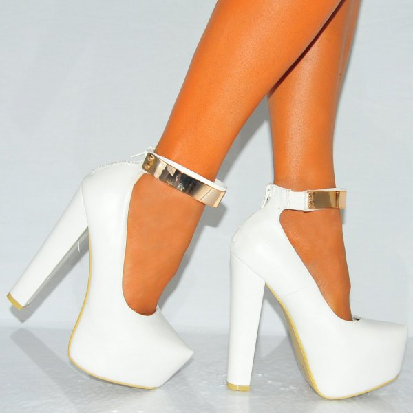 white platform heels gold ankle strap