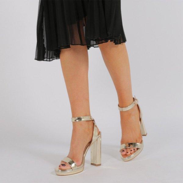 black chiffon midi dress gold heels