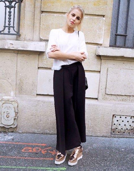 white t-shirt black maxi shirt
