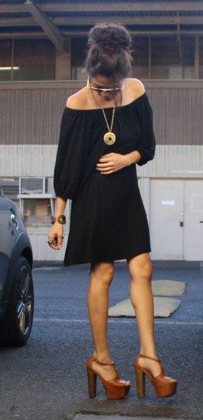 black in shoulder dress