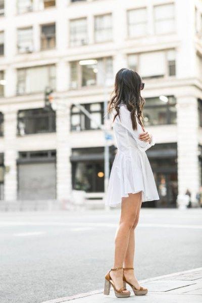 white shirt dress with gold platform heels