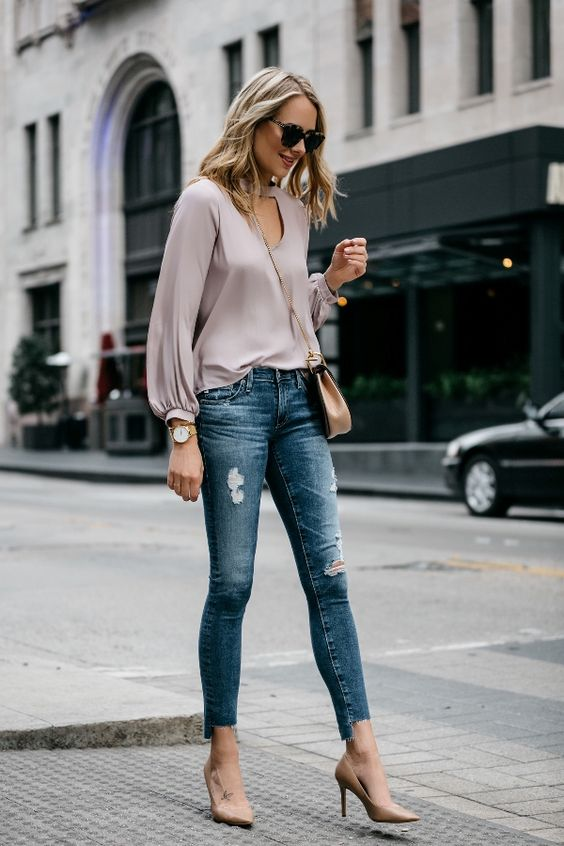 keyhole top pink jeans