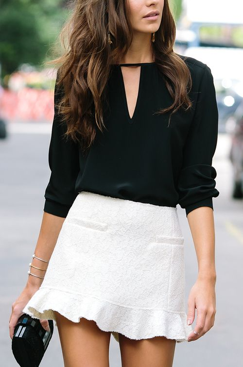 white skirt with keyhole