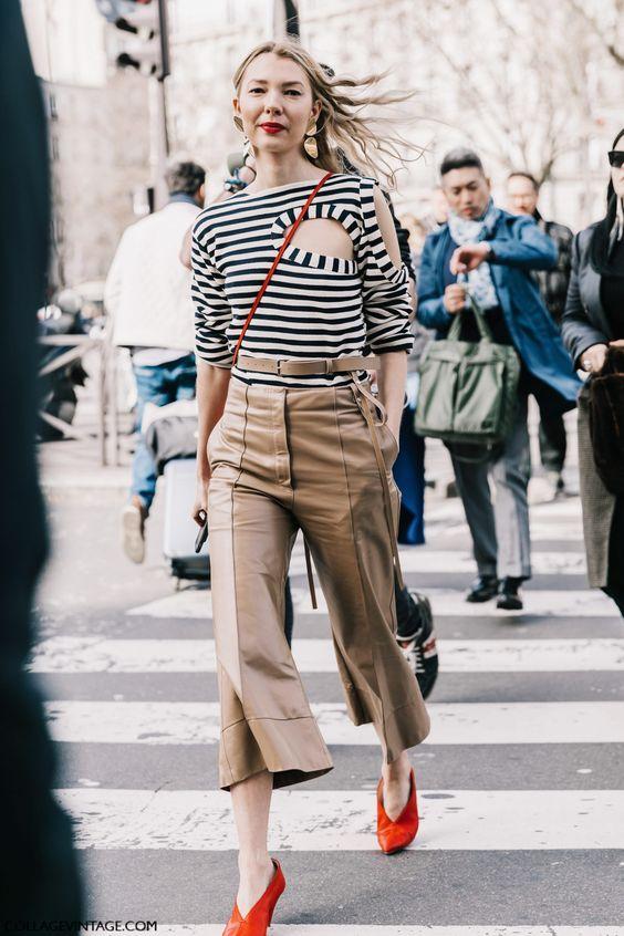 keyhole top striped blouse camel pants