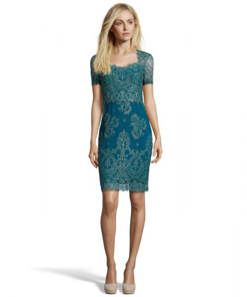 teal short sleeve lace cocktail dress
