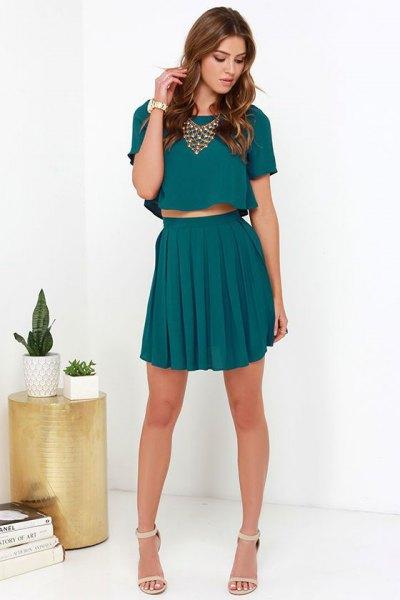 two piece dress top pleated mini skirt