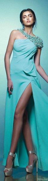 sequin strap one shoulder high split maxi dress