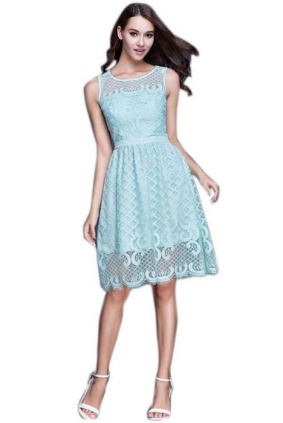 teal gathered waist lace knee length dress