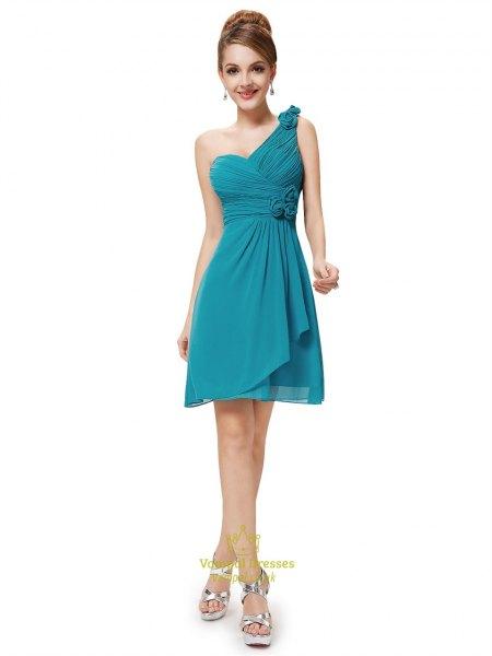 teal a shoulder bridesmaid wrap dress