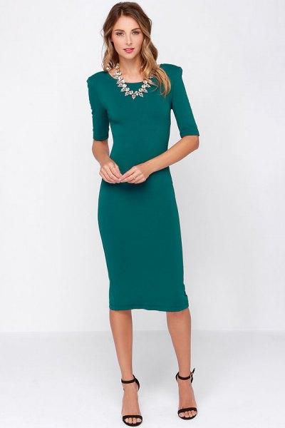 teal half-heated mantle midi dress