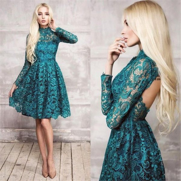 fit and flare open back lace dress