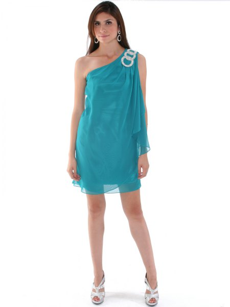 teal chiffon one shoulder my shift dress