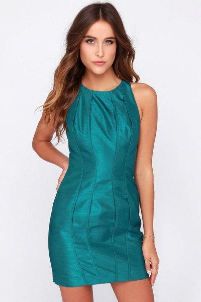 teal leather mini dress