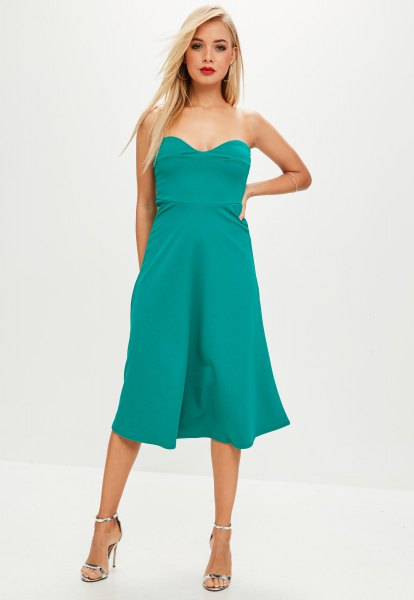darling neckline fit and flare midi dress