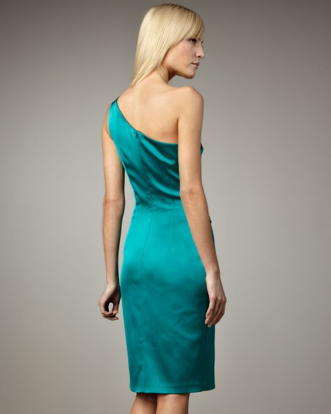 teal one shoulder satin bodycon dress