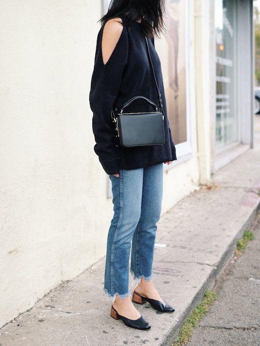 open shoulder shirt minimalist