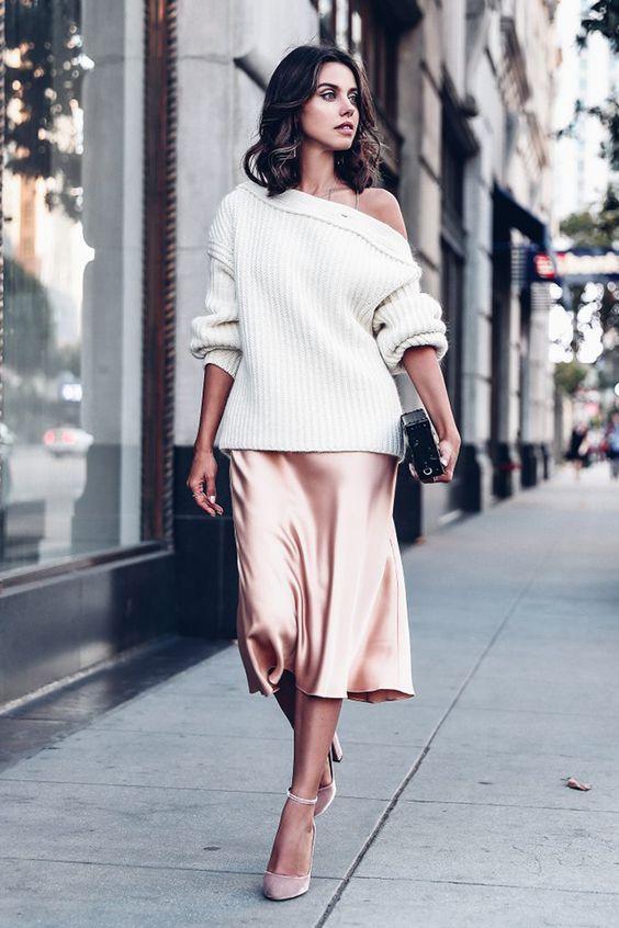 open shoulder sweater silk skirt