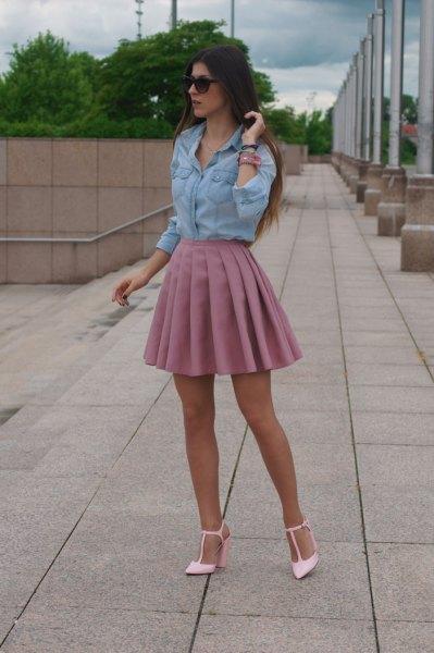 chambray shirt high waist pink pleated skirt