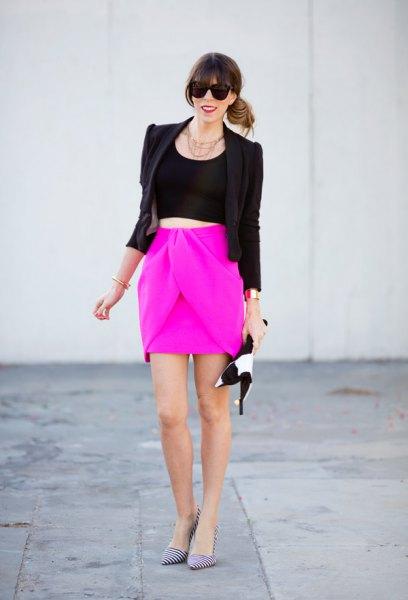 shocking pink mini skirt black blazer
