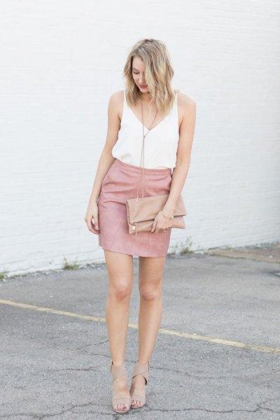 white vest top pink skirt heels