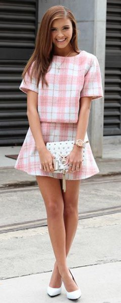 pink and white checkered two-piece set