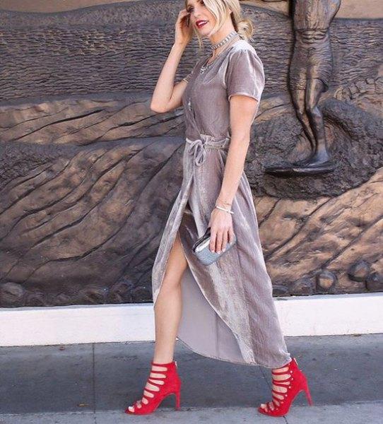 gray velvet wrap maxi dress red striped heels