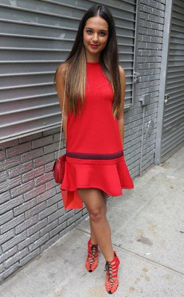 red ruffle skater dress striped heels