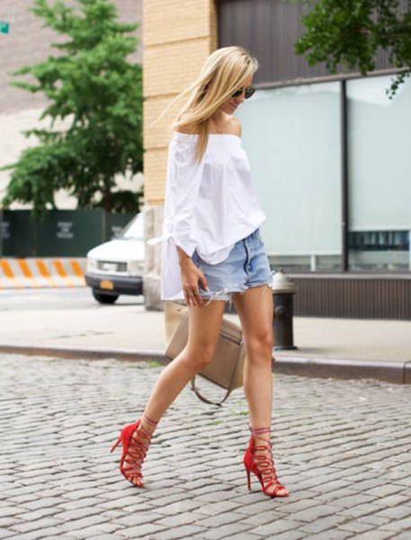 red strappy heels white of shoulder blouse denim shorts
