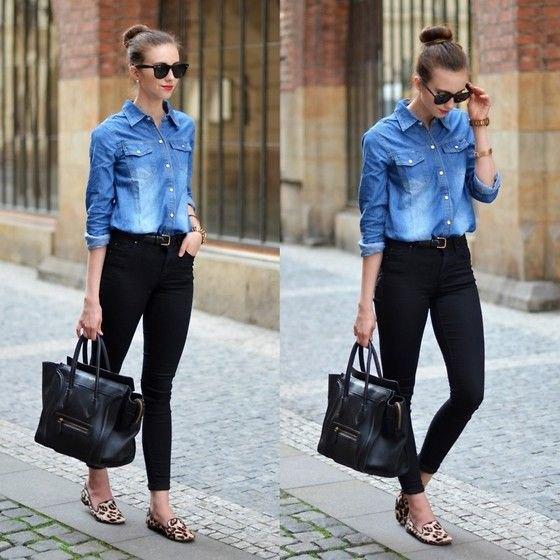 chambray skirt black skinny jeans
