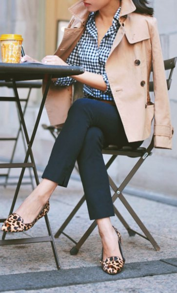 black and white plaid sweater beige trench coat