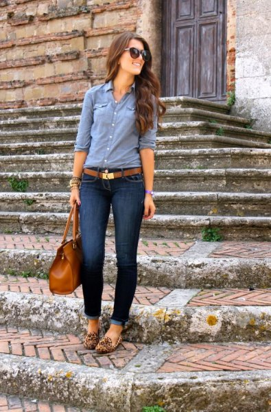 chambray leopard print loafers shirt